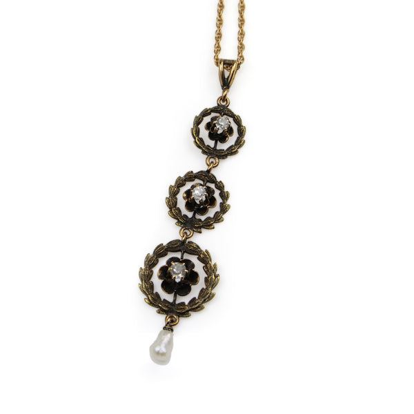 14ct Yellow Gold Antique Pearl and Diamond Drop Necklace