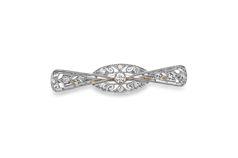 Platinum and 14ct Yellow Gold Deco Diamond Bow Brooch