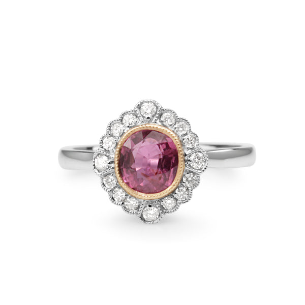 18ct White Gold Vintage Style Pink Sapphire and Diamond Ring