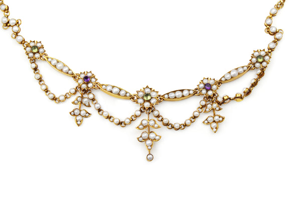 9ct Yellow Gold Antique Amethyst, Pearl and Peridot Suffragette Necklace
