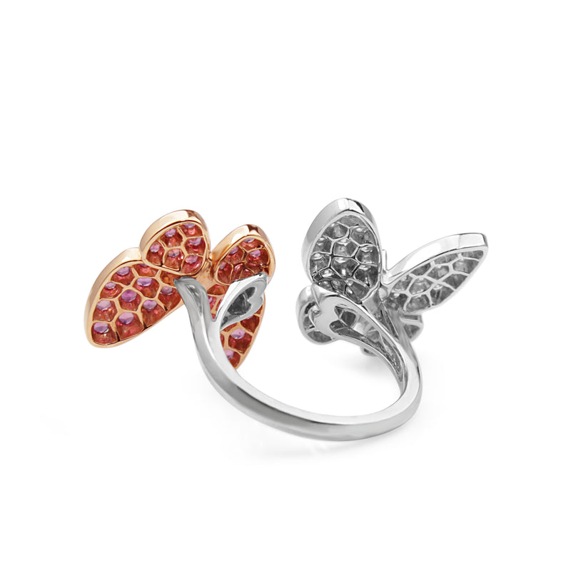 18ct Rose and White Gold Sapphire and Diamond Butterfly Ring