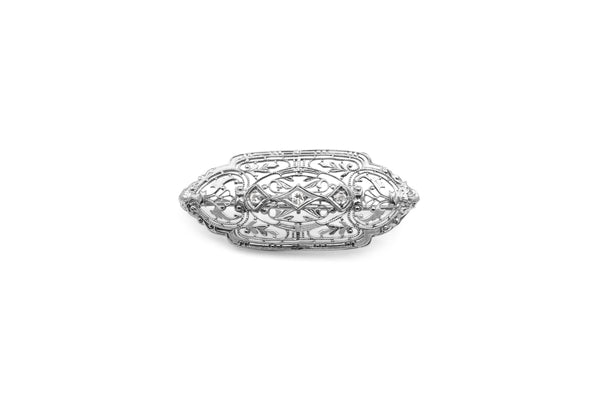10ct White Gold Filigree Diamond Brooch