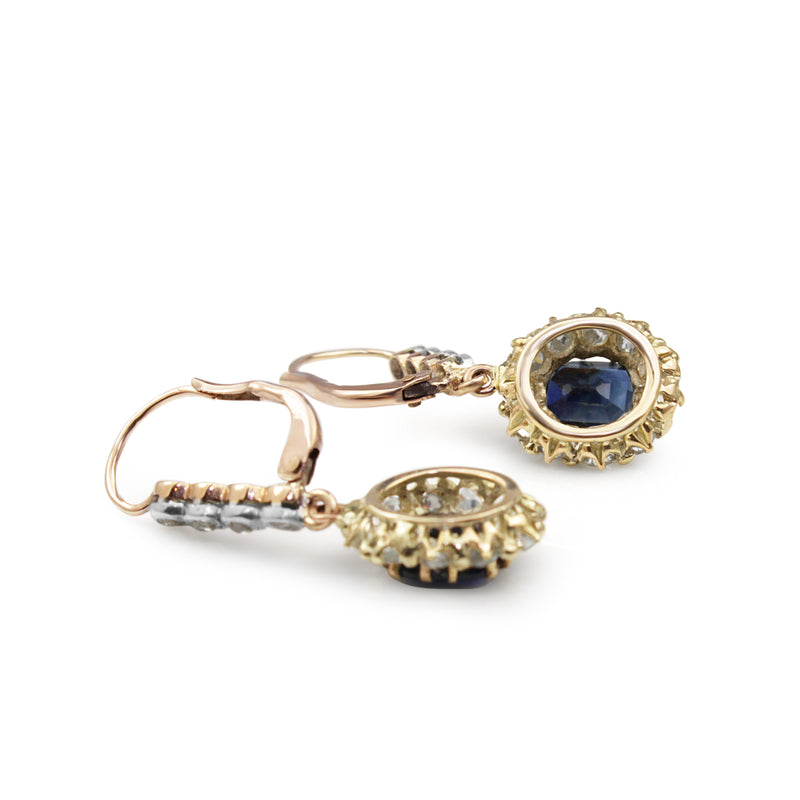 18ct Gold Antique Sapphire and Diamond Drop Earrings
