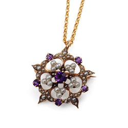 14ct Gold Amethyst and Pearl Brooch and Necklace