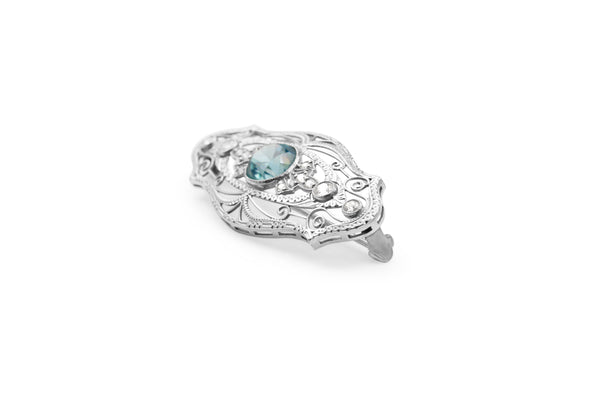 Platinum Art Deco Zircon and Diamond Brooch