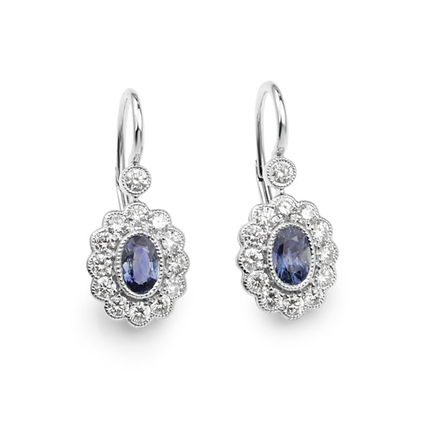 18ct White Gold Sapphire and Diamond Daisy Drop Earrings