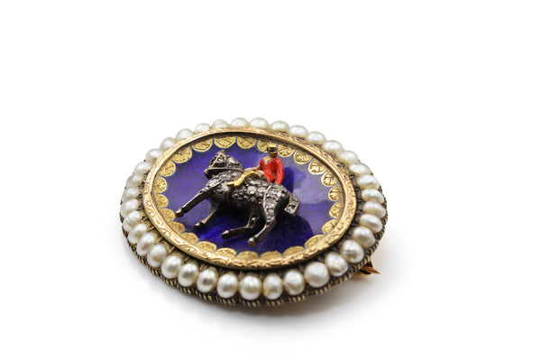 15ct Yellow Gold Antique Diamond, Enamel and Pearl Horse Brooch