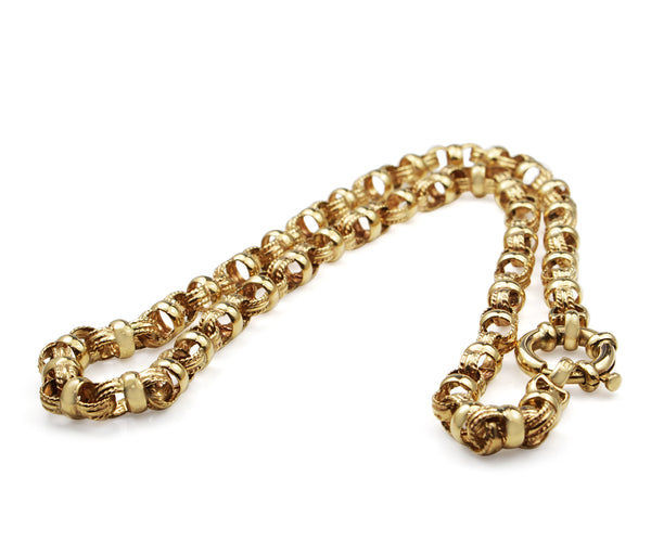9ct Yellow Gold Fancy Belcher Link Necklace
