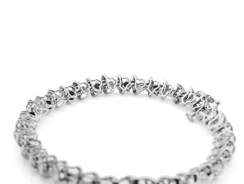 10ct White Gold Sapphire and Diamond Bracelet