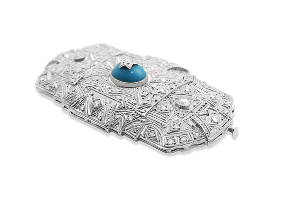 Platinum Art Deco Turquoise and Diamond Brooch