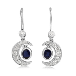 18ct White Gold Sapphire and Diamond Crescent Moon Earrings