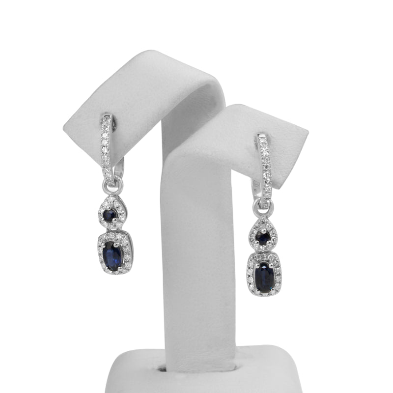 10ct White Gold Sapphire and Diamond Drop Earrings