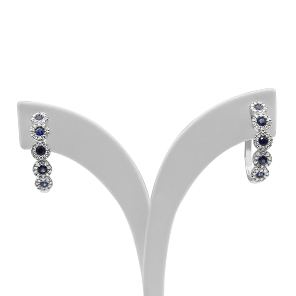 9ct White Gold Sapphire and Diamond Hoop Earrings