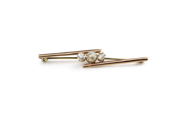 9ct Rose Gold Pearl Brooch