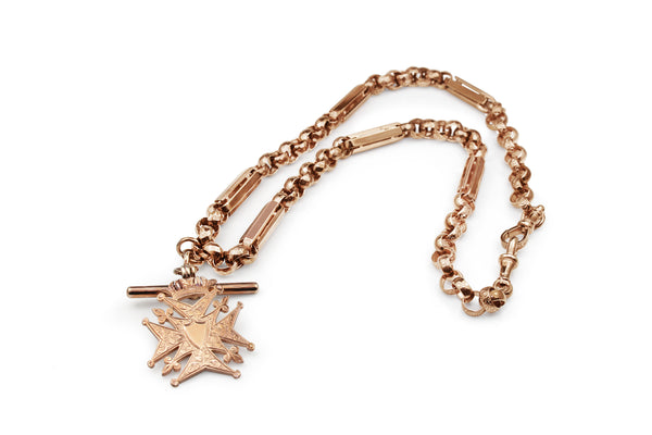 9ct Rose Gold Antique Fancy Link Fob Chain Necklace