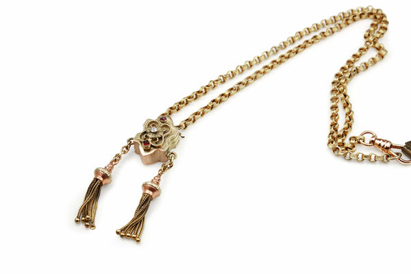 15ct Yellow Gold Antique Tassel Necklace with Paste Stones