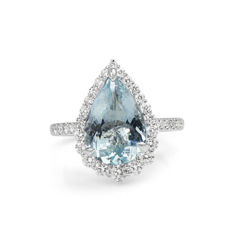 18ct White Gold Pear Aquamarine and Diamond Halo Ring