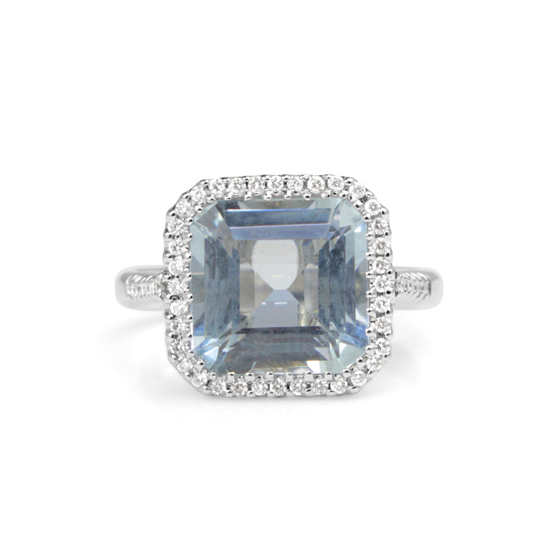 18ct White Gold Square Aquamarine and Diamond Halo Ring