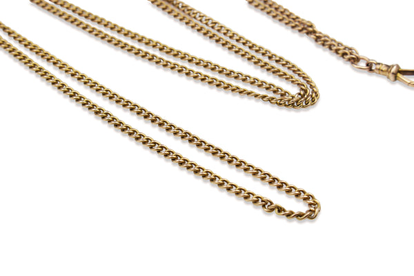 9ct Rose Gold Antique Muff Chain Necklace