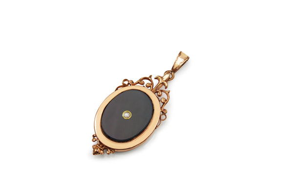 9ct Rose Gold Antique Onyx and Pearl Pendant