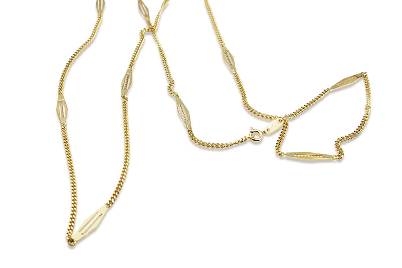 18ct Yellow Gold Fancy Link Chain Necklace