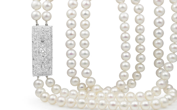 18ct White Gold Double Pearl Strand and Art Deco Diamond Clasp Necklace