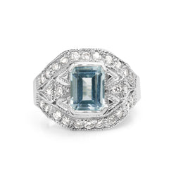14ct White Gold Art Deco Style Aquamarine and Diamond Ring
