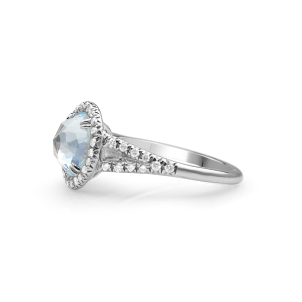 18ct White Gold Rose Cut Aquamarine and Diamond Halo Ring