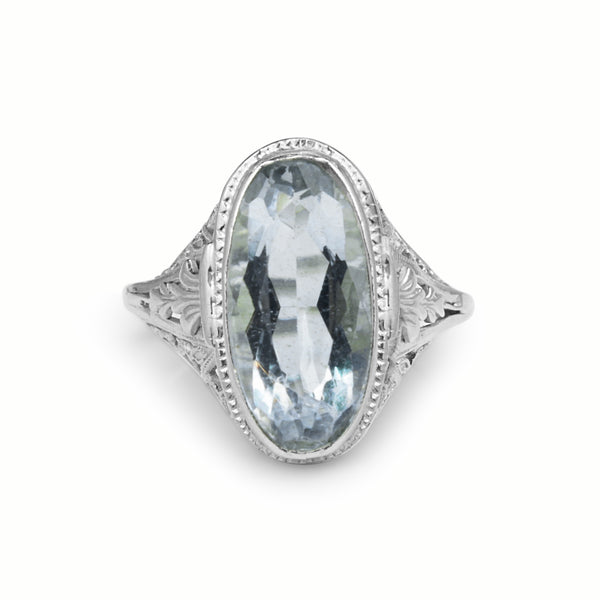 14ct White Gold Vintage Aquamarine Filigree Ring