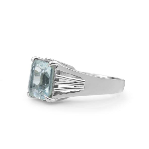 14ct White Gold Aquamarine Solitaire Ring