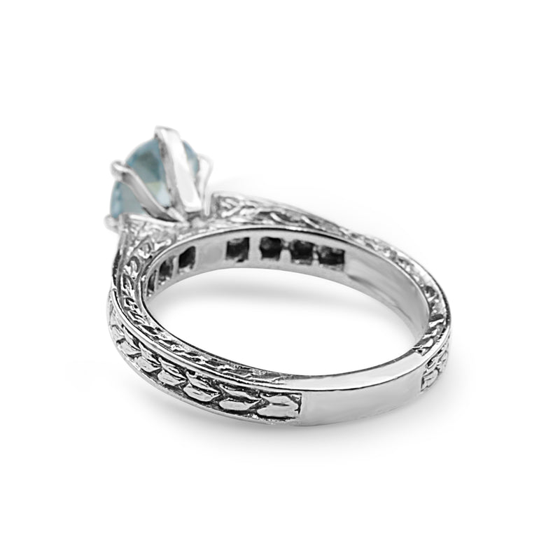 14ct White Gold Engraved Aquamarine and Diamond Solitaire Ring
