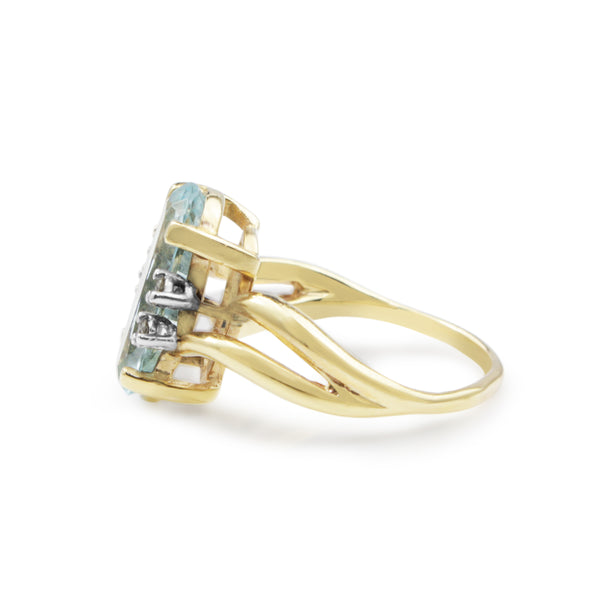 14ct Yellow Gold Aquamarine and Diamond Ring