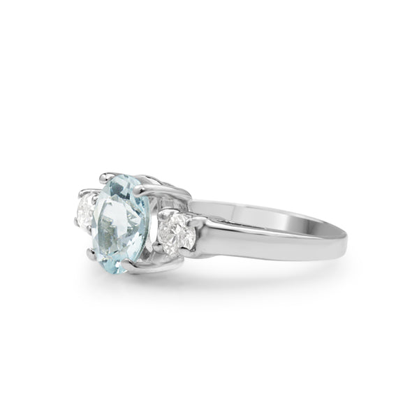14ct White Gold Aquamarine and Diamond 3 Stone Ring