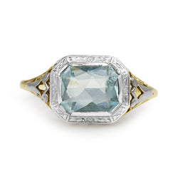 14ct Yellow and White Gold Aquamarine Filigree Ring