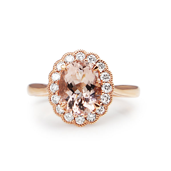 9ct Rose Gold Morganite and Diamond Daisy Ring