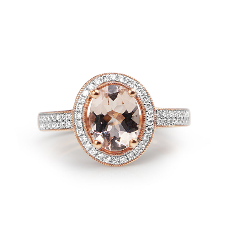9ct Rose Gold Morganite and Diamond Halo Ring