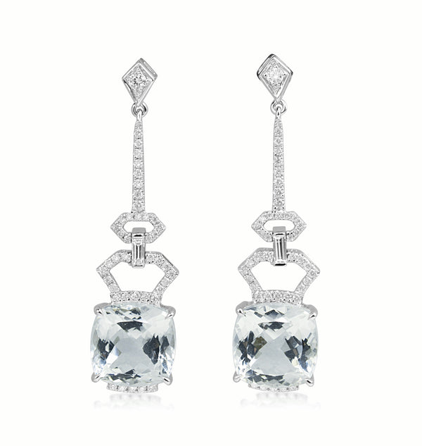 18ct White Gold Aquamarine and Diamond Drop Earrings
