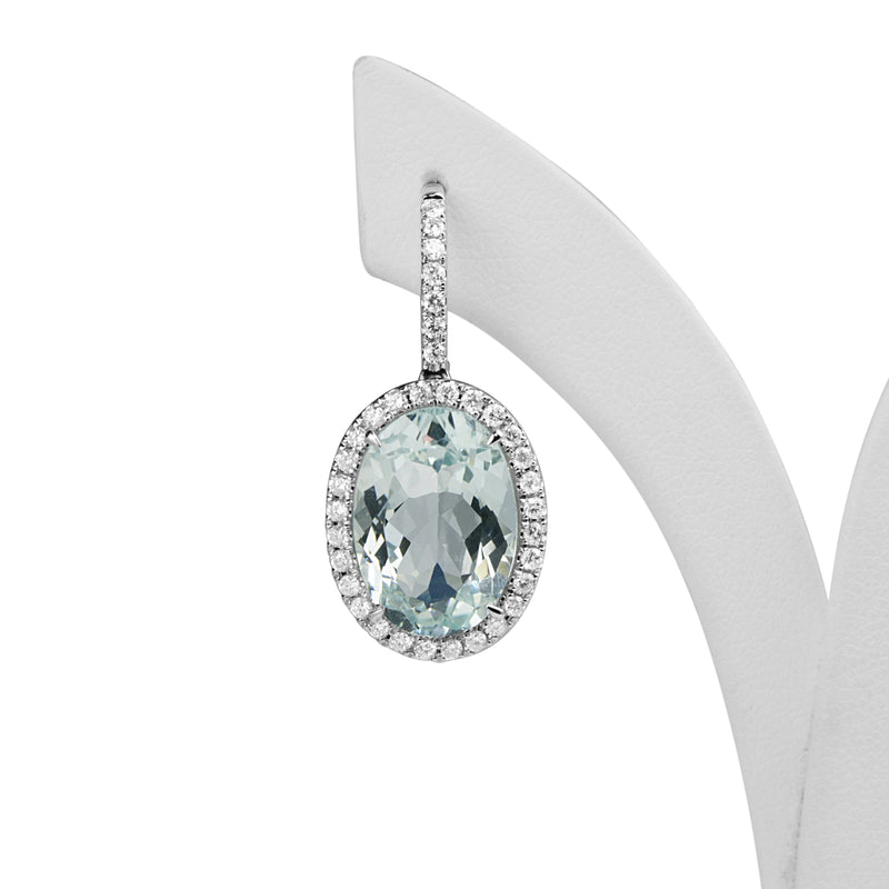 18ct White Gold Aquamarine and Diamond Drop Halo Earrings
