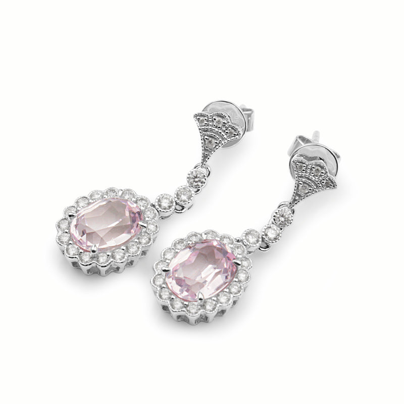 18ct White Gold Morganite and Diamond Daisy Drop Earrings