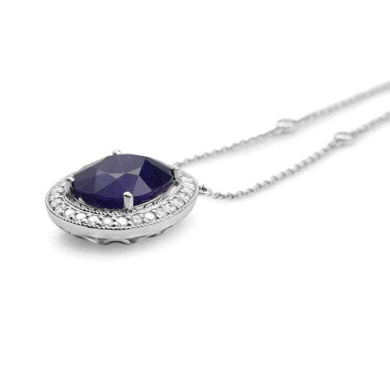 18ct White Gold Treated Sapphire and Diamond Halo Necklace