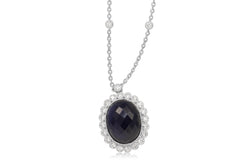 18ct White Gold Treated Sapphire and Diamond Daisy Necklace