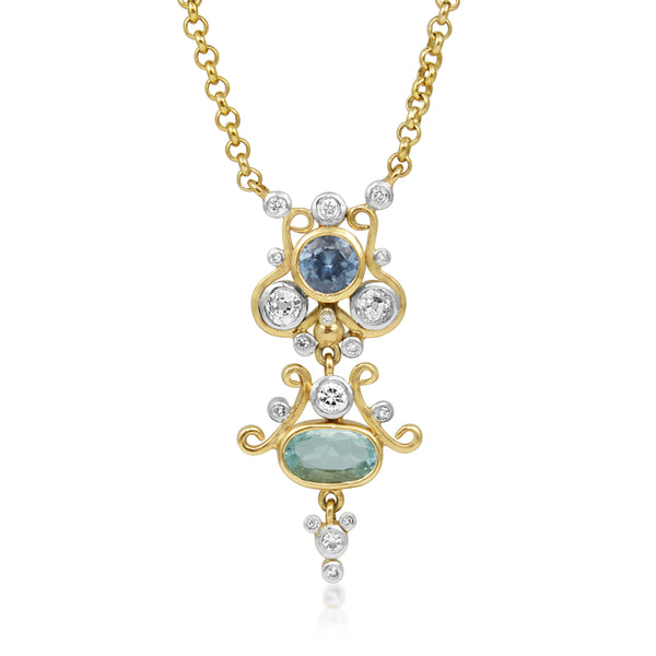 9ct Yellow Gold Aquamarine, Topaz and Diamond Necklace