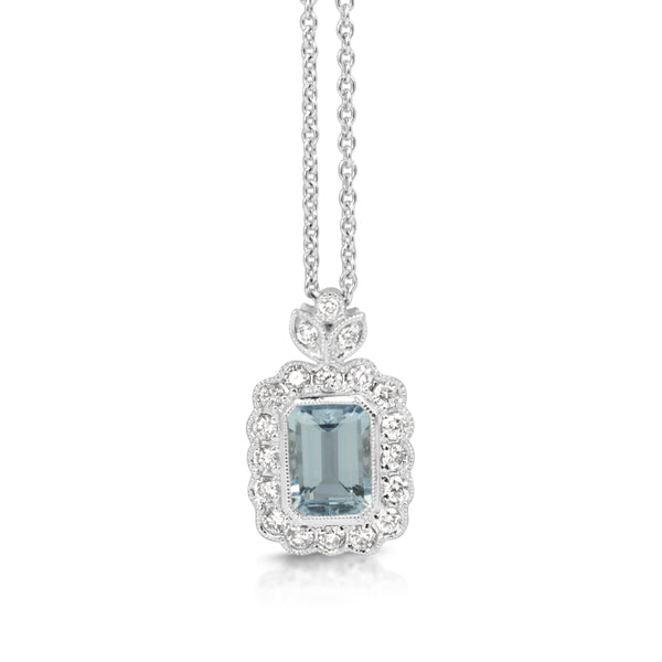 18ct White Gold Aquamarine and Diamond Floral Necklace