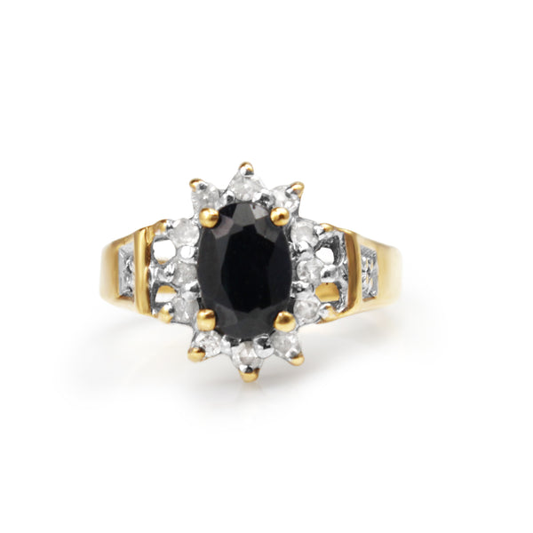 9ct Yellow Gold Sapphire and Diamond Ring