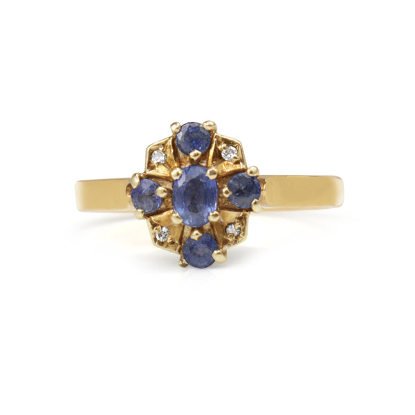 9ct Yellow Gold Sapphire and Diamond Vintage Ring
