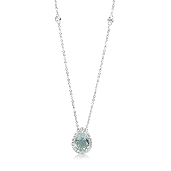 18ct White Gold Pear Aquamarine and Diamond Necklace
