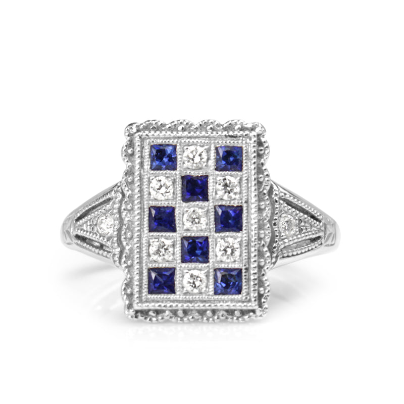 18ct White Gold Sapphire and Diamond Checkerboard Ring
