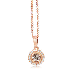 9ct Rose Gold Morganite and Diamond Halo Necklace