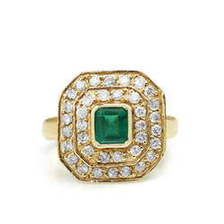 18ct Yellow Gold Emerald and Diamond Double Halo Ring