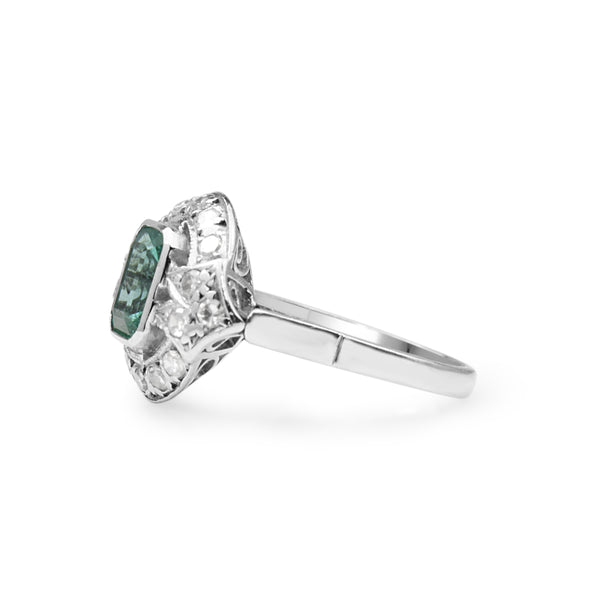 18ct White Gold Art Deco Emerald and Diamond Ring